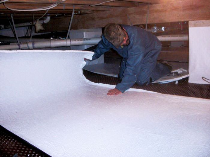 Crawl space insulation with terrablock in california Concrete crawl space floor